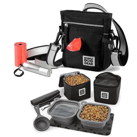 Bundle: Day/Night Walking Bag (Black) and Dine Away Set TM (Med/Lg Dogs) (Black)