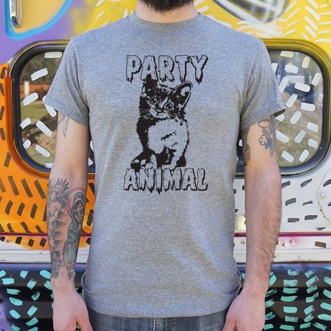 Party Animal Kitten T-Shirt (Mens)