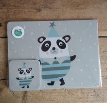 Load image into Gallery viewer, Pom-Pom Panda placemat & coaster gift set