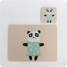 Load image into Gallery viewer, Princess Panda placemat & coaster gift set