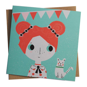 Penny & her Cat Greeting Card