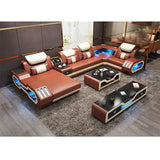 LED Leather Living Room Sofa Set - Pausetwoplay