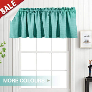 Valance Light Teal 18 inch Kitchen Window Curtain Living Room Bedroom Waterproof Bathroom Curtains Valance Panel Sold Individually