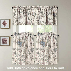 H.VERSAILTEX Window Valance Rustic Style Ultra Soft Material Suits for Kitchen Bath Laundry Bedroom Living Room (Rod Pocket, 58 by 15 inch, Vintage Floral Pattern, Set of 1)