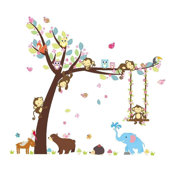 Forest Animal Tree Swing Stickers Mural