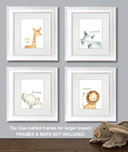 Load image into Gallery viewer, Safari Animals Wall Art Decor Set of 4