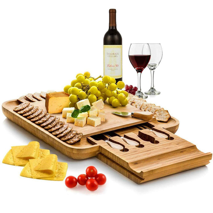 Bambusi Natural Bamboo Cheese Board Set - Wooden Charcuterie Platter and Serving Tray with Hidden Drawer & Cutlery Set