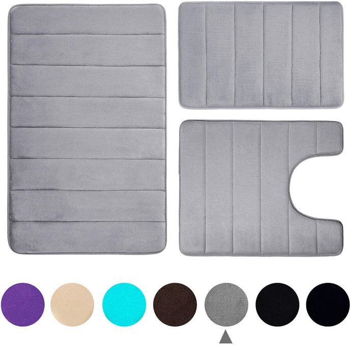 Memory Foam 3 Piece Bath Rugs Set