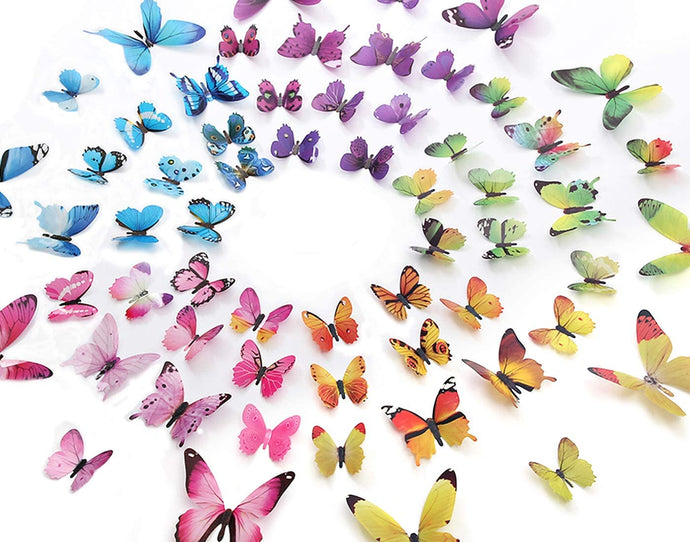 60PCS 3D Butterflies Wall Stickers