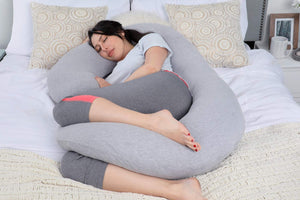 C Shaped Full Body Pillow Grey