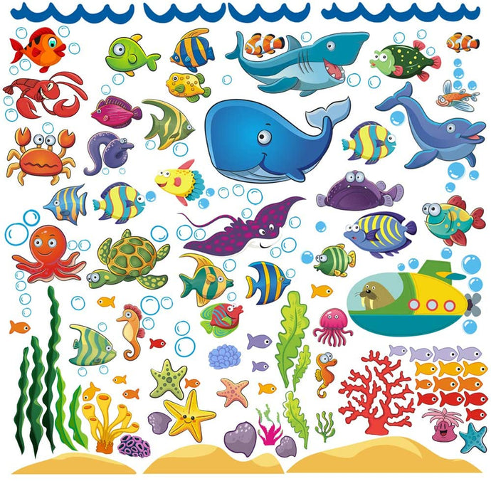 Decorative Ocean Fish Wall Sticker Decals