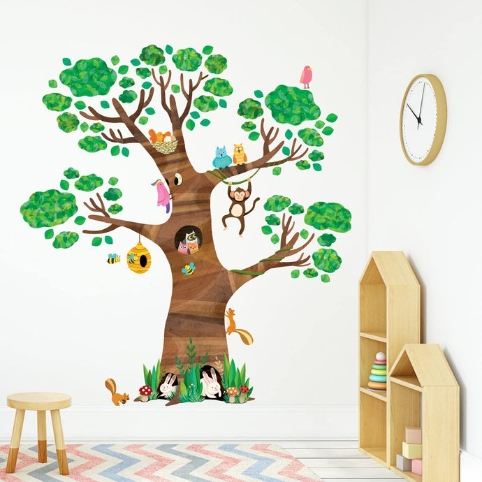 Giant Tree and Animals Kids Wall Decals