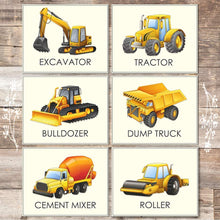 Load image into Gallery viewer, Trucks Set of 6 Construction Wall Decor