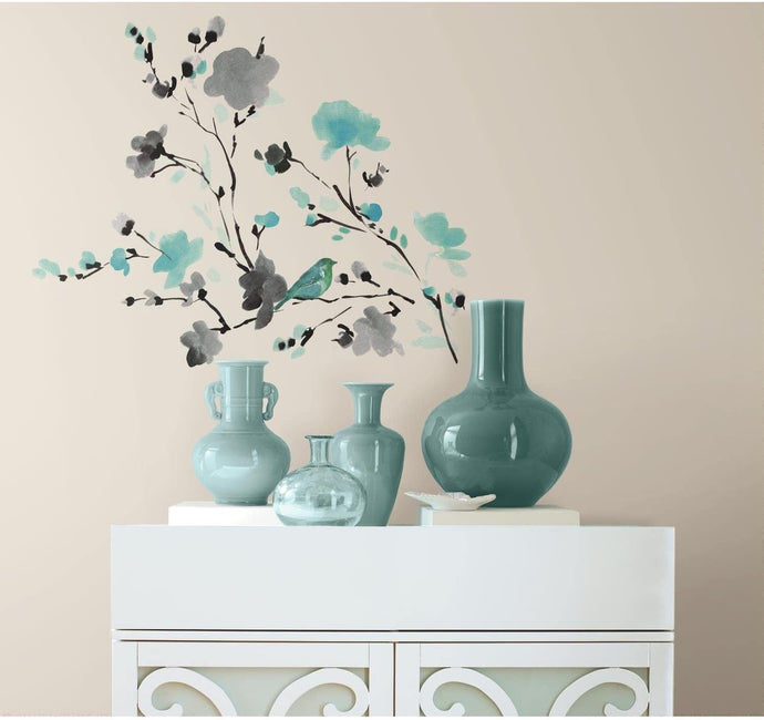Blossom Watercolor Bird Branch Decals