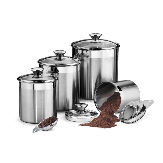 Tramontina 80204/527DS Gourmet 8Piece Canister & Scoops Set, Stainless Steel, MADE In Brazil