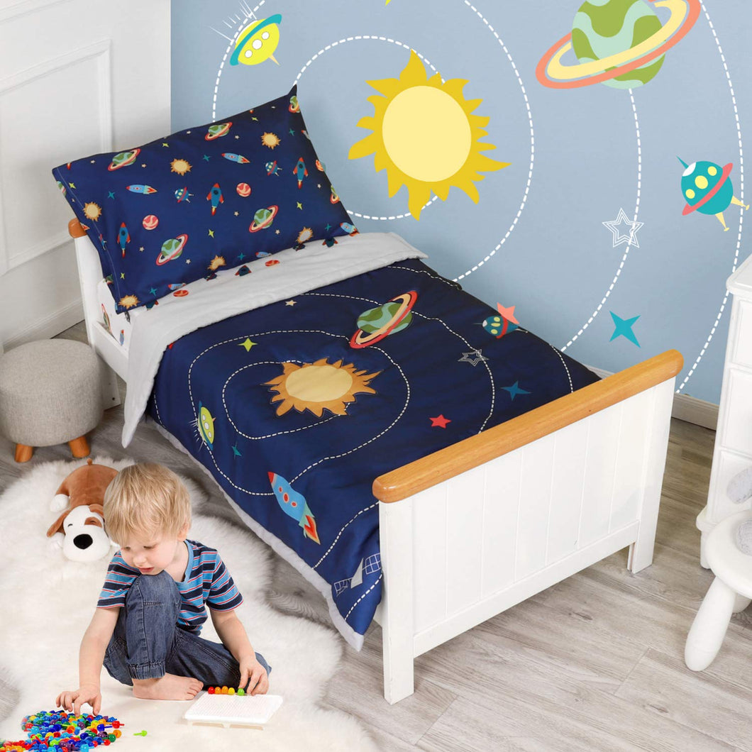 Embroidered 5 Piece Space Bedding Set