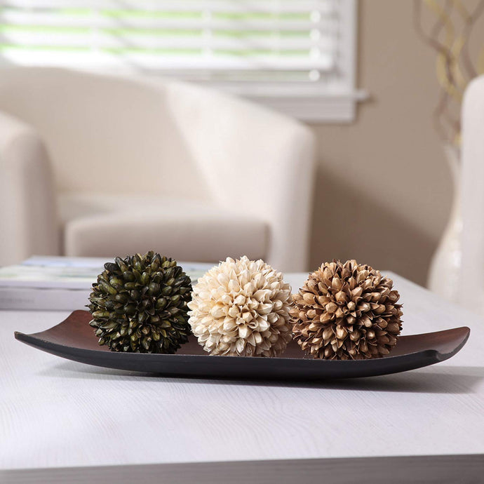 Decorative Tray & Floral Orb Set