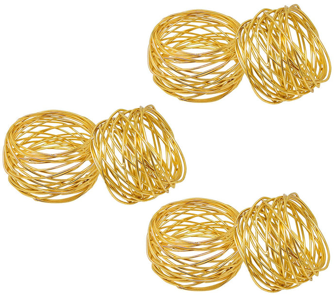 SKAVIJ Round Mesh Gold Christmas Decorations Napkin Rings Set of 12 for Weddings Dinner Parties or Every Day Use