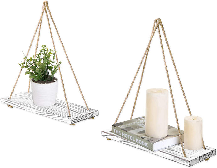 17-Inch Swing Rope Floating Shelves