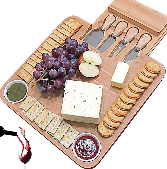 Cheese Board with Cutlery Set, Wooden Bamboo Charcuterie Platter & Serving Meat Board with Slide-Out Drawer, 4 Stainless Steel Knife and Server Set, gifts for Housewarming, Wedding, Father's Day