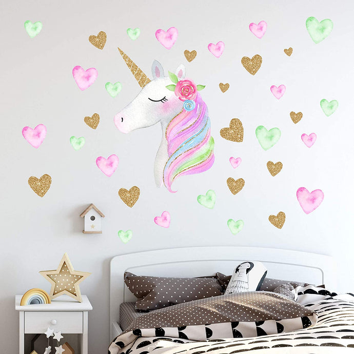 Unicorn Wall Decals with Hearts & Flowers