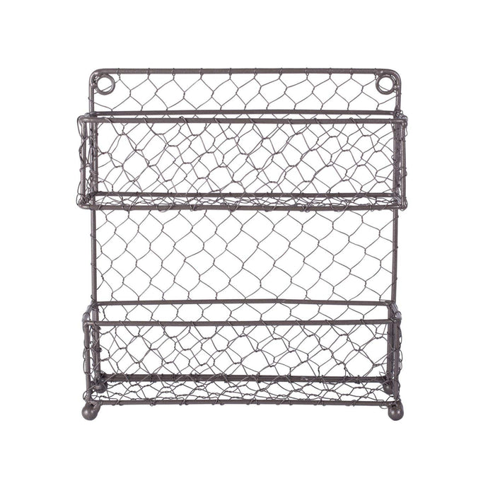 DII Z01445 Vintage Spice Rack, Mounted Chicken Wire Organizer for Kitchen Wall, Pantry, or Cabinet, 16.94