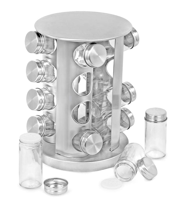 Internet's Best Revolving Spice Tower | Square Spice Rack | Set of 16 Spice Jars | Seasoning Storage Organization | Stainless Steel