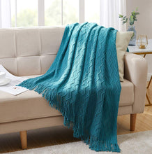 "Load image into Gallery viewer, Bourina Throw Blanket Textured Solid Soft for Sofa Couch Decorative Knitted Blanket, 50"" x 60"",Off White"