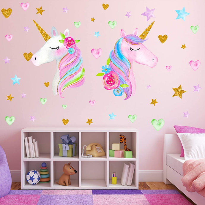 2 Sheets Large Size Unicorn Wall Decor