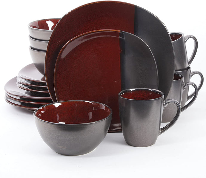 Gibson Elite Bloomsbury 16 Piece Reactive Glaze Dinnerware Set, Blue - 101982.16RM