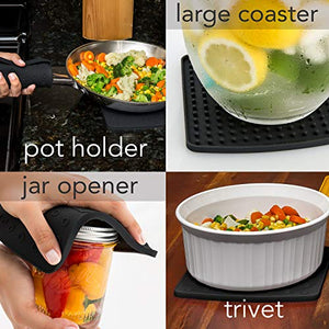 "Premium Silicone Trivet & Pot Holders. These Versatile Silicone Hot Pads Work as Spoon Rest, Jar Opener & Large Coasters. Trivets are Heat Resistant to 442 °F. Thick & Flexible (7""x7"", Gray,1 Pair)"