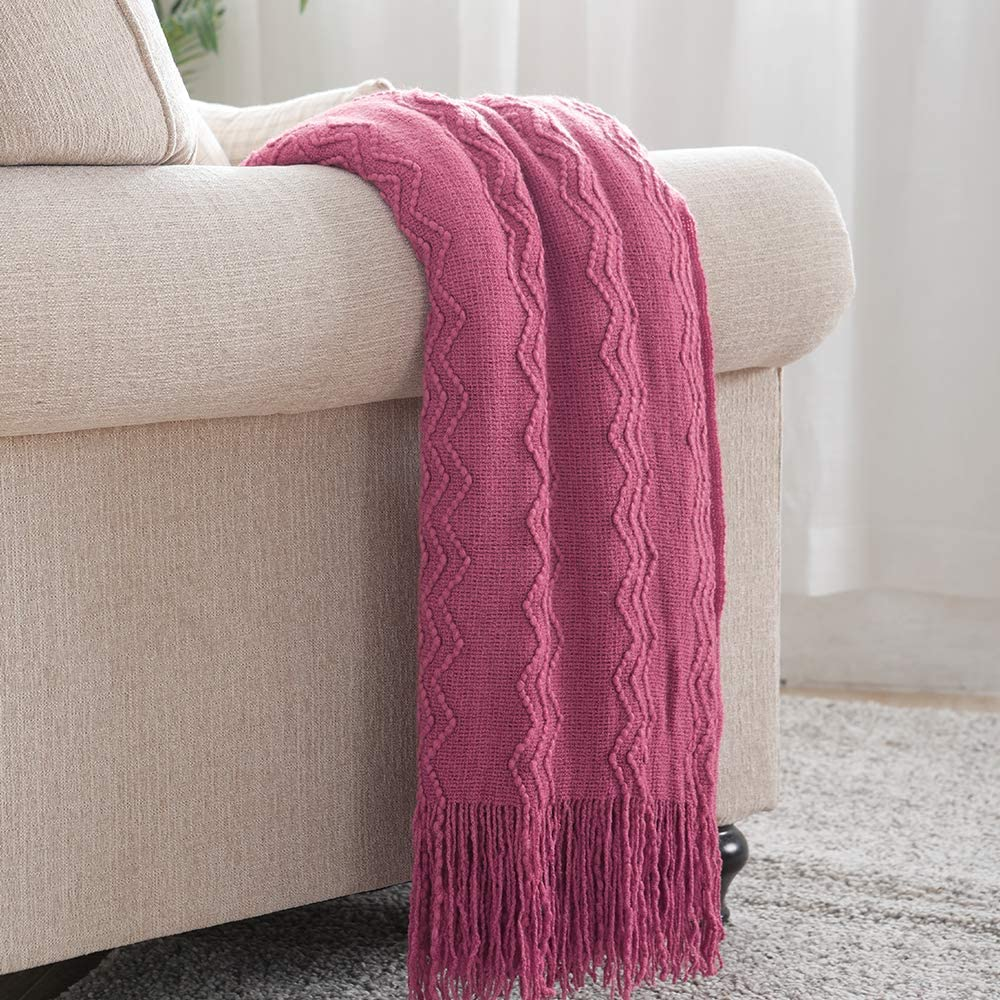 Bourina Throw Blanket Textured Solid Soft for Sofa Couch Decorative Knitted Blanket, 50