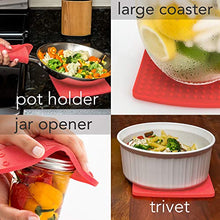 "Load image into Gallery viewer, Premium Silicone Trivet & Pot Holders. These Versatile Silicone Hot Pads Work as Spoon Rest, Jar Opener & Large Coasters. Trivets are Heat Resistant to 442 °F. Thick & Flexible (7""x7"", Gray,1 Pair)"