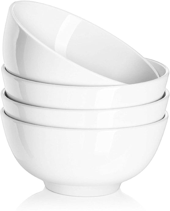 DOWAN 39 Ounce Porcelain Serving Bowls, Salad Bowls, 4 Packs, Soup Pasta Bowl Set, Chip Resistant Ceramic, Microwave and Dishwasher Safe, Stackable, 7 Inches, White