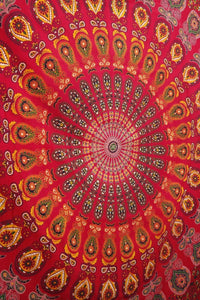 Bless International Indian Hippie Bohemian Psychedelic Peacock Mandala Wall Hanging Bedding Tapestry (Golden Blue, Queen(84x90Inches)(215x230Cms))
