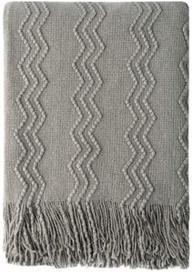 "Bourina Throw Blanket Textured Solid Soft for Sofa Couch Decorative Knitted Blanket, 50"" x 60"",Off White"
