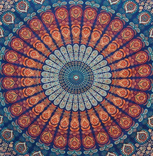 Load image into Gallery viewer, Bless International Indian Hippie Bohemian Psychedelic Peacock Mandala Wall Hanging Bedding Tapestry (Golden Blue, Queen(84x90Inches)(215x230Cms))