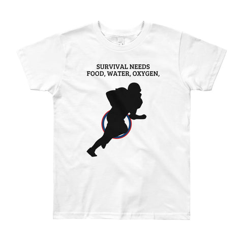 .SURVIVAL NEEDS FOOD WATER OXYGEN  (AMERICAN FOOTBALL) YOUTH/KIDS. Short Sleeve T-Shirt