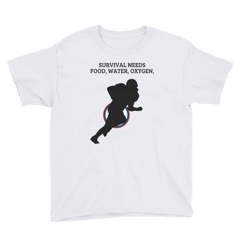 AMERICAN FOOTBALL. SURVIVAL  NEEDS FOOD WATER OXYGEN (Football) USA.YOUTH Short Sleeve T-Shirt