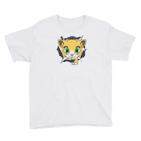 CAT CLIMBS THROUGH T-SHIRT. YOUTH/TEENS Short Sleeve. CARTOON YCC3