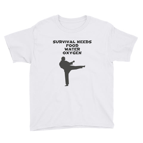 SURVIVAL  NEEDS FOOD, WATER, OXYGEN (KARATE) YOUTH Short Sleeve T-Shirt