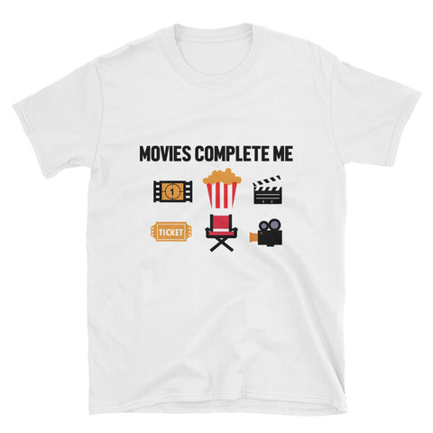 MOVIES COMPLETE ME. SHORT SLEEVE UNISEX T-SHIRT. MM65