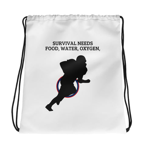 AMERICAN FOOTBALL. SURVIVAL  NEEDS FOOD WATER OXYGEN (FOOTBALL USA)Drawstring bag
