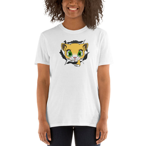 CAT CLIMBS THROUGH T-SHIRT. Short-Sleeve Unisex T-Shirt. CARTOON CCC7