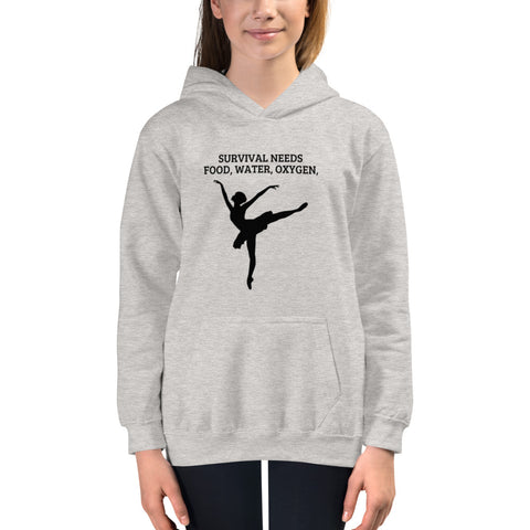 YOUTH/KIDS. SURVIVAL NEEDS FOOD, WATER, OXYGEN, (BALLET) (A773) Youth/Kids Hoodie