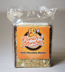 Matcha Dark Chocolate Rice Crispy Treat Front of Bag