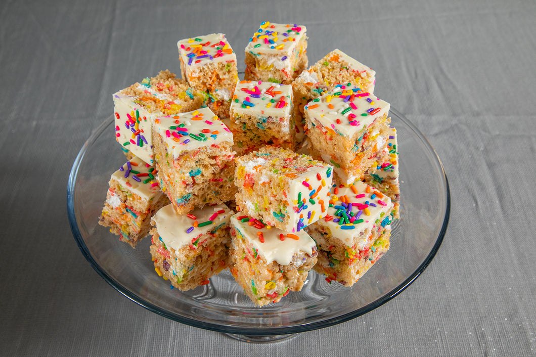 Funfetti Rice Krispies Buttercream Frosting Treats