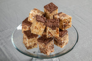 Newtella Crispies Rice Crispy Treat Displayed on Tray