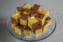 Matcha Dark Chocolate Crispies Displayed on Cake Tray