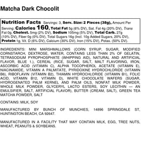 Matcha Dark Chocolate Rice Crispy Treats Nutritional Label